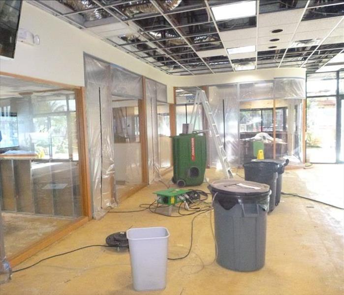 Mold damage resulting from water damage shut down this Chesterfield store front