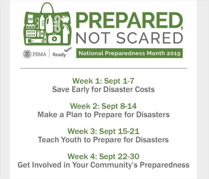 National Preparedness Month's weekly schedule of themes centered on preparedness.